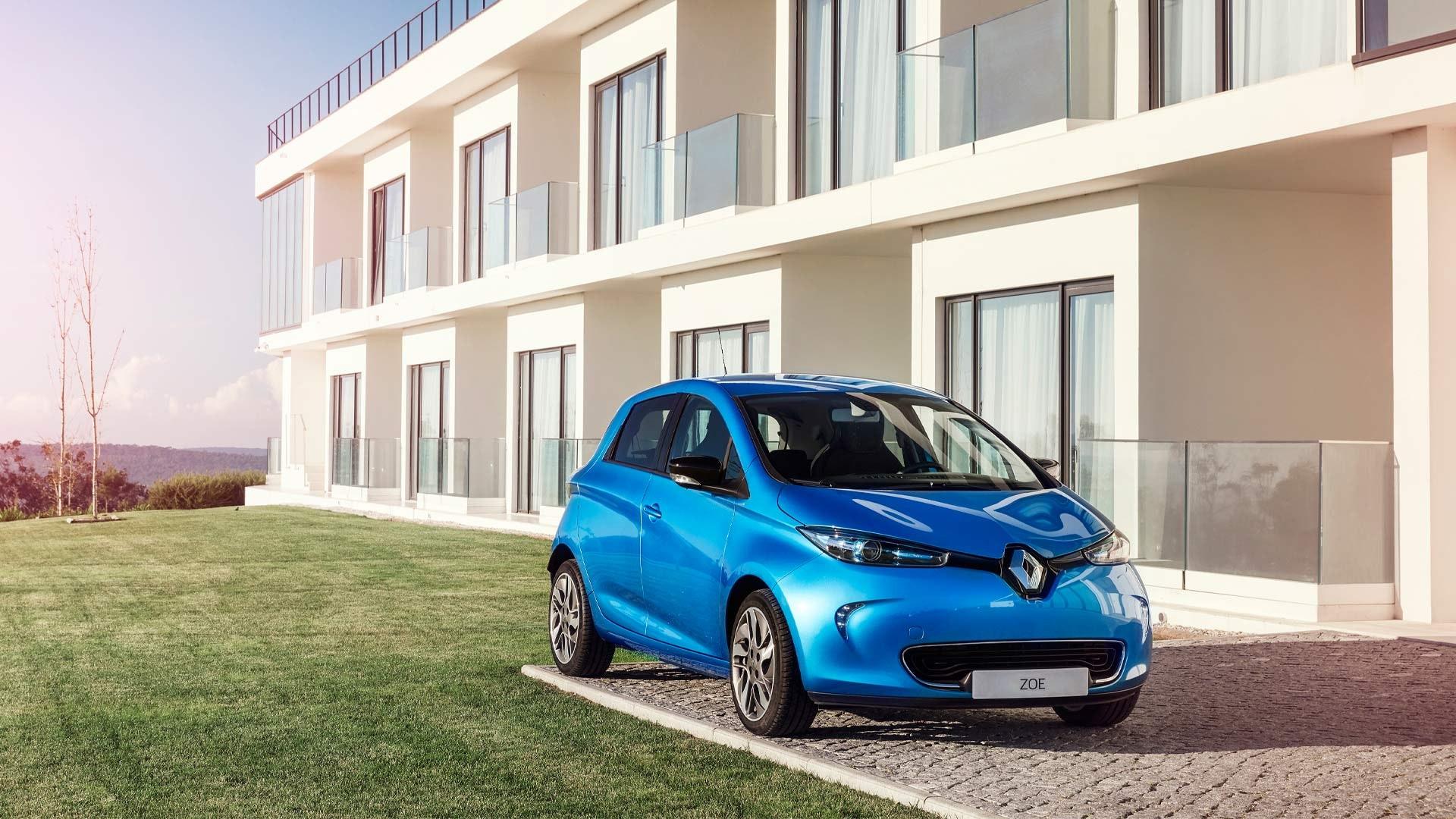 Renault Zoe blå foran