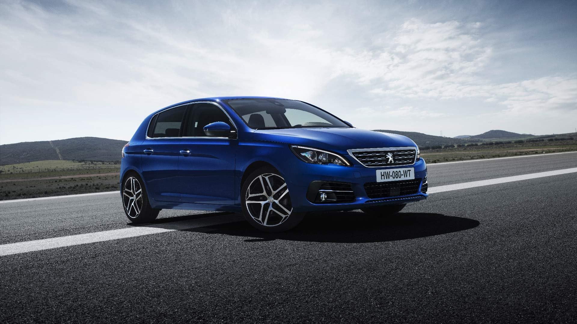 Peugeot 308 blå front side