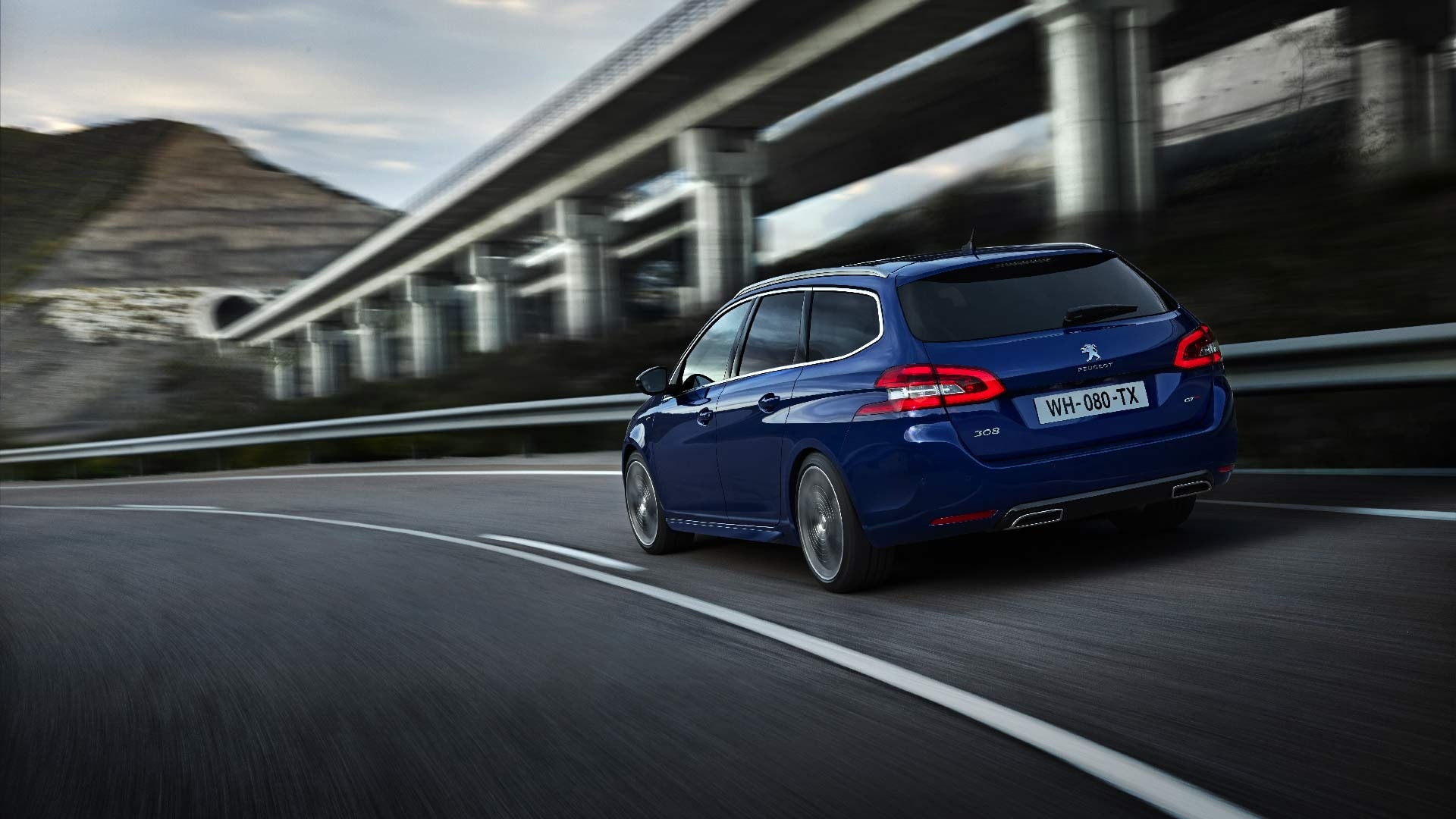 Peugeot 308 SW blå bagende